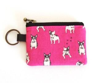 Key/coin purse - French bulldog pink