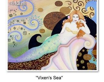 B. K . Lusk Vixen Mermaid Print Art Nouveau Abstract Goddess Icon Sea Seascape Ocean Siren