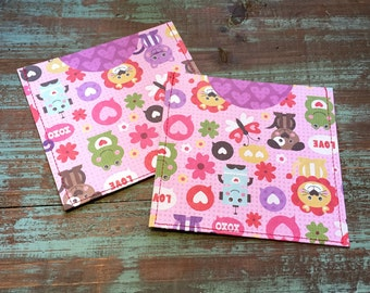 CD Paper Sleeves Set • XOXO Animals • Handmade Pair of Disk Covers • Envelopes • Gift Wrap • Pockets • Printed Paper • DVD