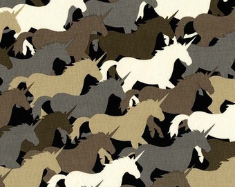 Unicorn Herd in Taupe - Michael Miller cotton quilt fabric - fat quarter