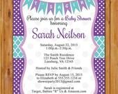 Baby Girl Shower Invitation Purple Aqua Polka dots It's a Girl Bunting Invite DIY Printable 5x7 Digital JPG file (493)