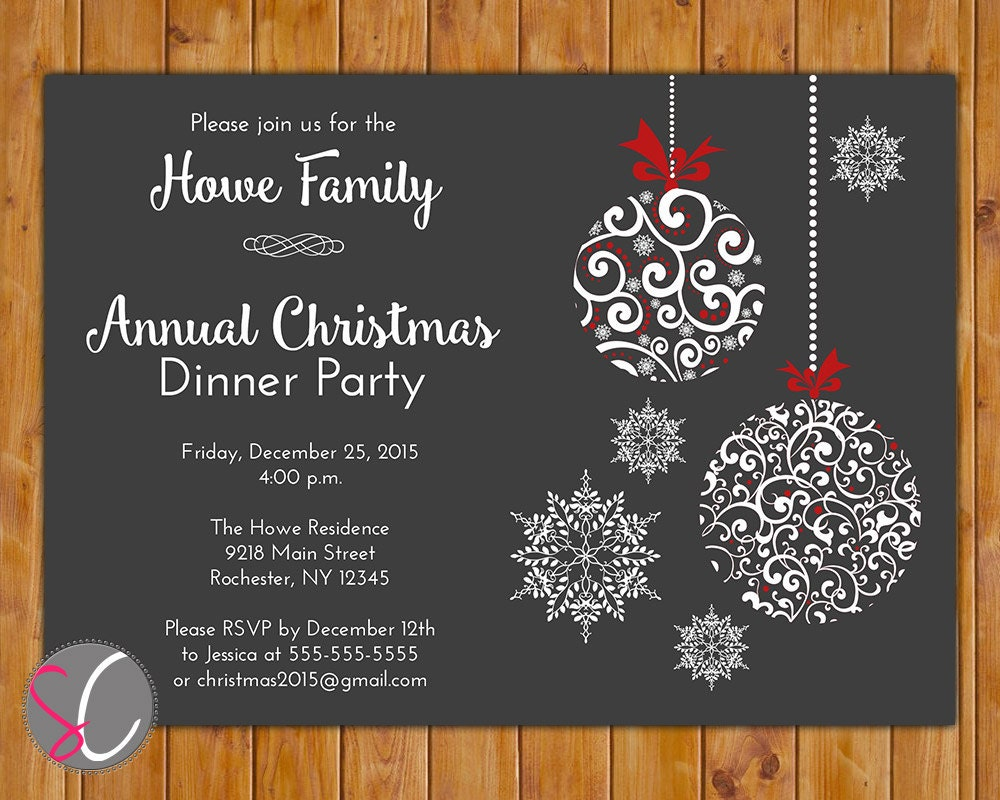 Annual Christmas Dinner Party Invite Celebration Holiday – Dinner Party Invitation Templates