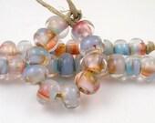 Skinny Dipping Swirly Spacers - Handmade Artisan Lampwork Glass Beads - 5mmx9mm SRA (Set of 10 Spacer Beads)