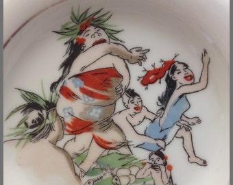 60s Trader Vic's Vintage Cartoon Souvenir Ashtray - Risque Illustrated Art - Trader Vic Vics - Mad Men Decor
