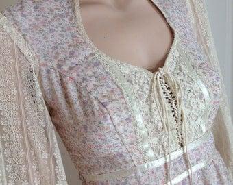 70s Gunne Sax By Jessica Prairie Maxi Dress - Lace Sleeves Corset Laced Hippie Wedding Dress - Boho Folk Romantic Long Authentic Vintage XXS