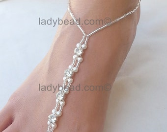 Barefoot Sandals Beach Wedding Rhinestone Ladybead Barefoot Sandals White Pearl TLR2