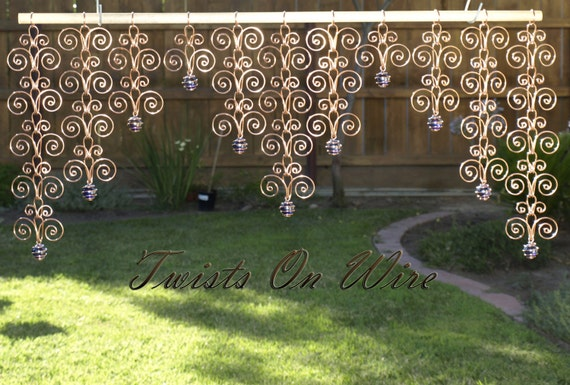 Solid Copper and Glass Valance Sun Catcher Swirl Handcrafted Indoor Outdoor Decor Curtain Wall Hanging Suncatcher Metalwork