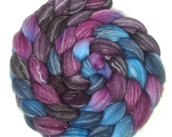Handpainted Glitter Roving Superwash Merino/Silver Stellina - 4 oz. TWILIGHT - Spinning Fiber