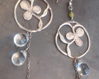 Sterling Silver Clover Earrings, Long, with Jade and Clear Glass Drops. Handmade.