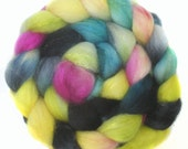 SPARKLY SUPERWASH BFL roving top handdyed wool spinning fiber 3.5 oz