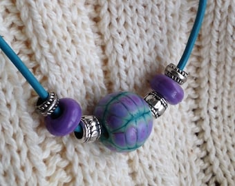 purple and turquoise lampwork beads leather cord necklace
