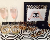 Custom 10 x 10 leopard Framed Chanel Art Print
