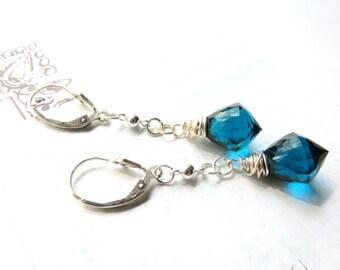 Quartz Dangle Earrings - Teal Quartz Gemstone Earrings - Wire Wrapped - Sterling Silver - Blue