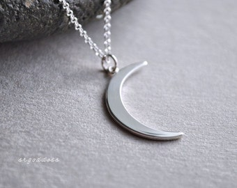 CRESCENT MOON sterling silver waning moon necklace by srgoddess