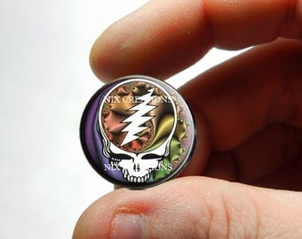 25mm 20mm 16mm 12mm 10mm or 8mm Glass Cabochon - Grateful Dead Steal Face Head Design 9  - for Jewelry and Pendant Making
