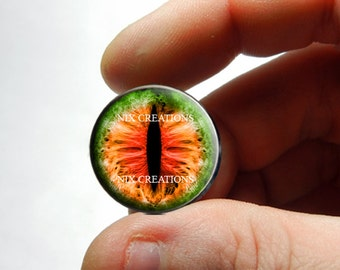Dragon Glass Eyes - Green Orange Red Dragon Glass Eyes Glass Taxidermy Doll Eyes Cabochons - Pair or Single - You Choose Size