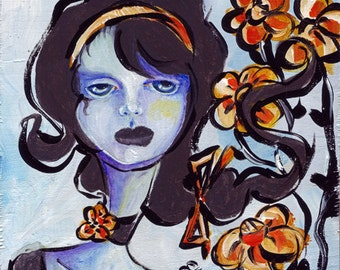 "Lowbrow Art Flower Girl - Daisy ORIGINAL 5x5"" Acrylic painting on wood surreal sad girl black blue orange flowers melancholy surreal art"