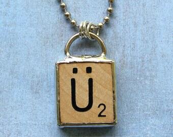Scrabble Letter U Umlaut Necklace