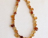 Hessonite Garnet Necklace with Gold Pyrite and Gold Filled Clasp, Smokeylady54