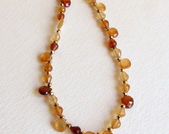Hessonite Garnet Necklace with Gold Pyrite and Gold Filled Clasp, Statteam
