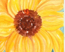 Sunflower watercolor painting original, sunflower artwork 4 x 6 handmade,  sunflower decor, watercolor of sunflower, sunflower wall art