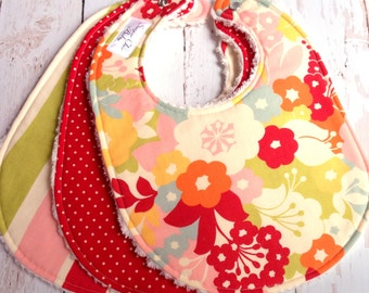 Baby Girl Bibs  -  Set of 3 Triple Layer Chenille - Creamsicle Floral, Red Pindots, Creamsicle Whimsy Stripe