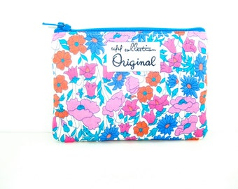 Pink Small Floral Wallet, Pink and Turquoise Wallet, Daisy Poppy Floral Coin Purse, Liberty Change Wallet, Coin Wallet, Fabric Pouch