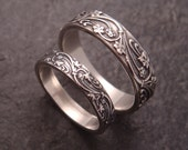 Art Deco Ivy Wedding Band Set in Sterling Silver