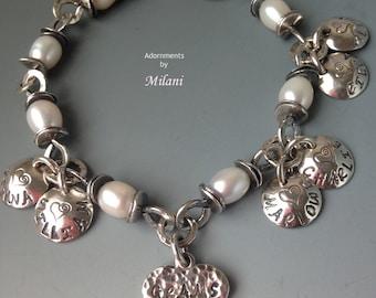 Grandma Grams Bracelet 6 Six Children Kids Names Birth Date Heart Sterling Silver Beaded Pearls Motherinlaw Front & Back Personalization