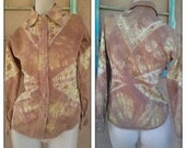 Vintage 1970s Blouse Tie Dye Cotton Shirt Jacket Small 2015234