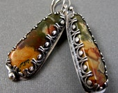 Gold Green and Red Plume Agate Earrings in Gallery Setting - Sterling Silver Asymmetrical Earrings
