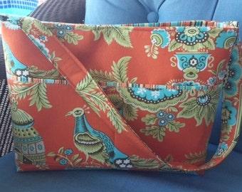 Handbag Tote Purse | Amy Butler Royal Garden Clay fabric | Medium size bag