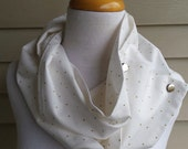 Spring white with gold dots infinity snap cotton scarf