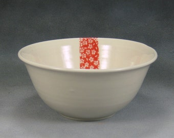 16 oz Red and White Tiny Flower Noodle Bowl, Rice Bowl, Soup Bowl, Pho Bowl, Stir Fry Bowl Hand Thrown Porcelain Pottery 5