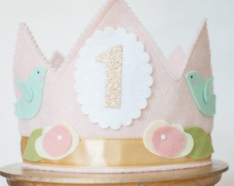 Girl First BIRTHDAY CROWN - Shabby Chic pink & gold Flowers and Birds