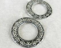 Bohemian earrings, Moroccan earrings, antique Silver filigree hoop earrings, Gypsy Earrings, Tribal earrings, Christmas gift for her
