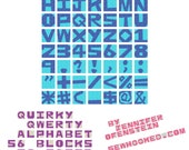 Quirky Qwerty Alphabet - 56 Blocks to Paper Piece