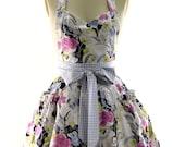 Sixties Floral Flouncy Bib Apron