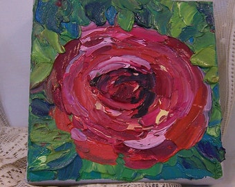 Original oil painting impasto art red rose on canvas palette knife painting home decor fine art impressionistic art abstract roses