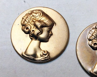2 Vintage brass 26mm round cameo findings / cabochon, pretty right facing girl, 1960s #69B