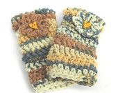 Chunky crochet mittens, yellow grey fingerless mitts with flower and heart button, teen gloves, cornwall uk seller, womens accessories