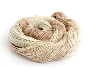 Hand dyed DK, double knitting baby alpaca linen silk blend, light worsted crochet yarn skein, Perran Yarns, brown cream sand, free pattern