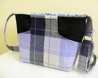 Crossbody Purse Preppy Periwinkle Plaid Wool and Denim