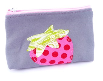 Strawberry Cosmetics Bag, Small makeup Bag with appliqued strawberry
