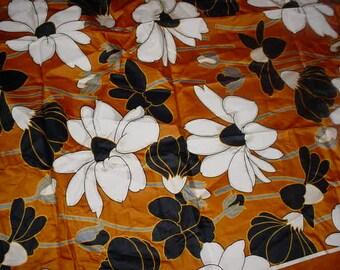Large Print Vintage fabric Brown, Black, White, Grey Cornflower blue