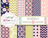 40% off Modern floral Digital Papers navy gold pink salmon chevron, flowers SOPHIA  Instant Download