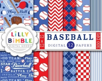 50% off Baseball digital papers scrapbooking invites, birthday party, balls, mitts, play ball, boys red and blue Digital Download