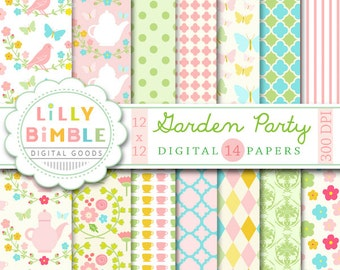 Garden Party digital papers for scrapbooking, cards, invites, flowers, paper, printable download