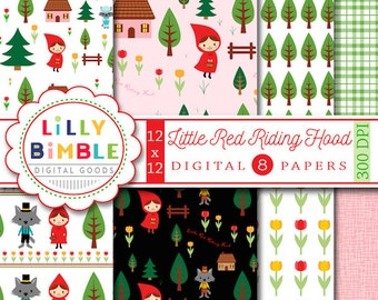 Little Red Riding Hood digital paper Patterned paper with fairytale images INSTANT DOWNLOAD scrapbook
