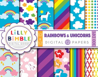 40% off Rainbow digital papers with unicorns, retro clouds, rainbows, scrapbook paper for cards, invites, birthday party Download